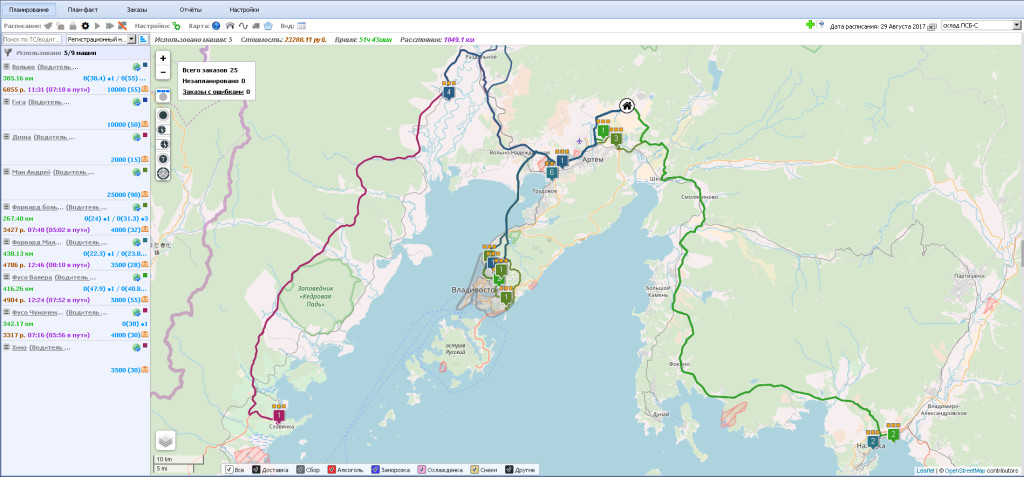 Оптимизация маршрутов в сервисе Maxoptra
